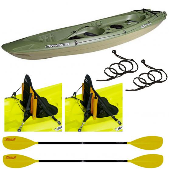 BIC CANOA RIGIDA TRINIDAD FISHING + 2 PAGAIE BEACH 215CM + 2 SCHIENALI FISHING + 2 CORDE SICUREZZA