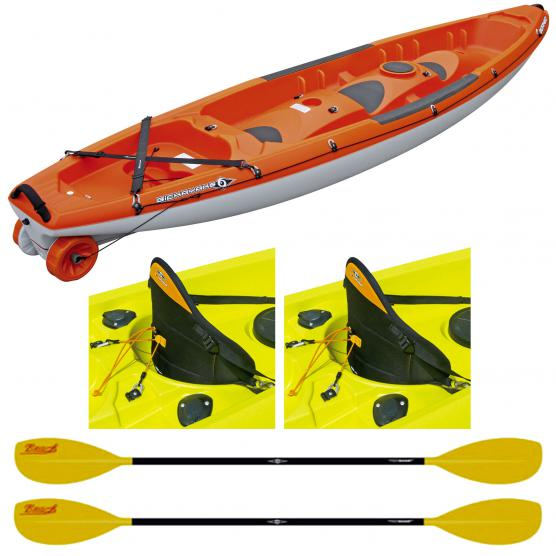 BIC SPORT CANOA RIGIDA BORNEO ORANGE + 2 PAGAIE BEACH 215CM + 2 SCHIENALI POWER