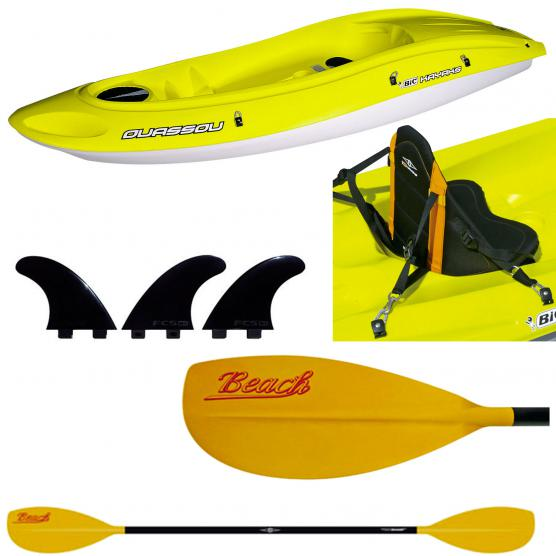 BIC SPORT RIGID KAYAK OUASSOU + 1 PADDLE BEACH 215CM + 1 BACK STANDARD + 1 FINS FCS SET
