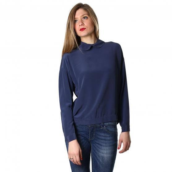 BUNF CAMICIA 100% SETA CON COLLETTO BLU DONNA