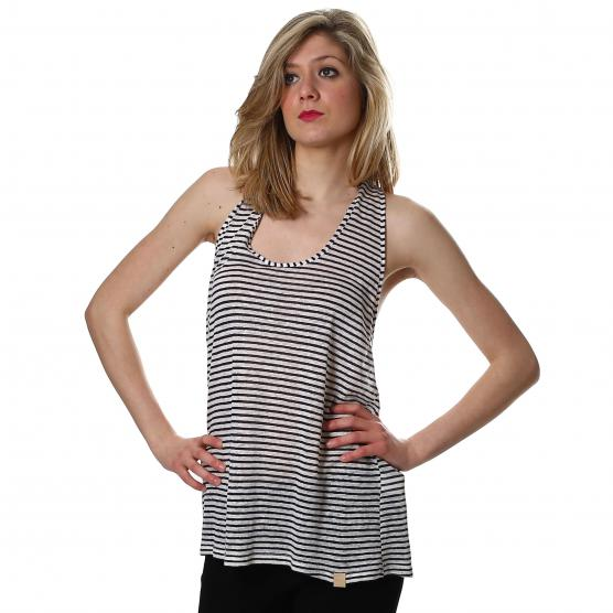 BUNF WOMAN STRIPED TANK TOP WITH WHITE/BLUE APPLIQUES