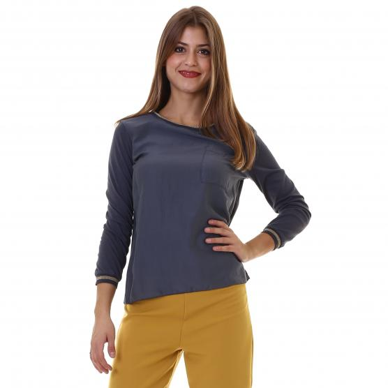 BUNF WOMAN SWEATER WITH BREAST-POCKET AND 3/4 SLEEVE