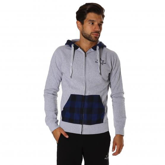 CONVERSE MAN CHECK INSERT EMBRO HOOD FLEECE SWEAT UOMO