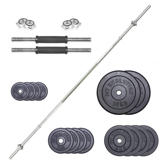 KIT WEIGHTLIFTING BARBELL 180 CM + HANDLEBARS + PACK CAST IRON WEIGHTS 52 KG