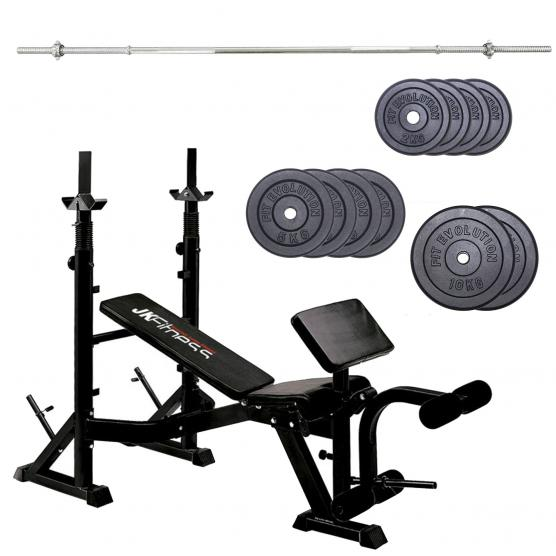 GYMNASTIC BENCH JK FITNESS 6070 + BARBELL 180 cm + PACK CAST IRON WEIGHTS 48 KG