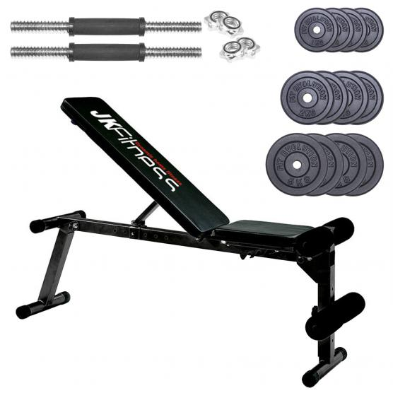 TILTING BENCH JK FITNESS 6040 + HANDLEBARS + PACK CAST IRON WEIGHTS 32 KG