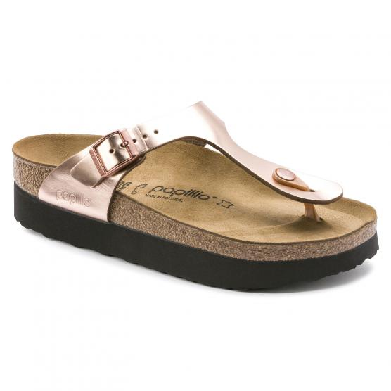 BIRKENSTOCK GIZEH PLATFORM LEATHER GOLD