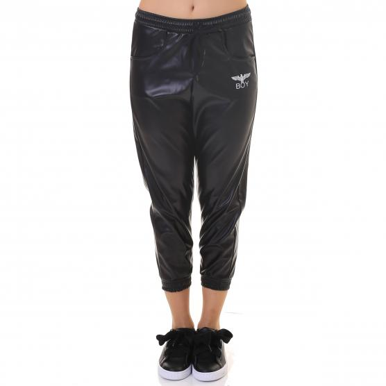 BOY LONDON PANT ECO PELLE NERO/ST.BIANCA
