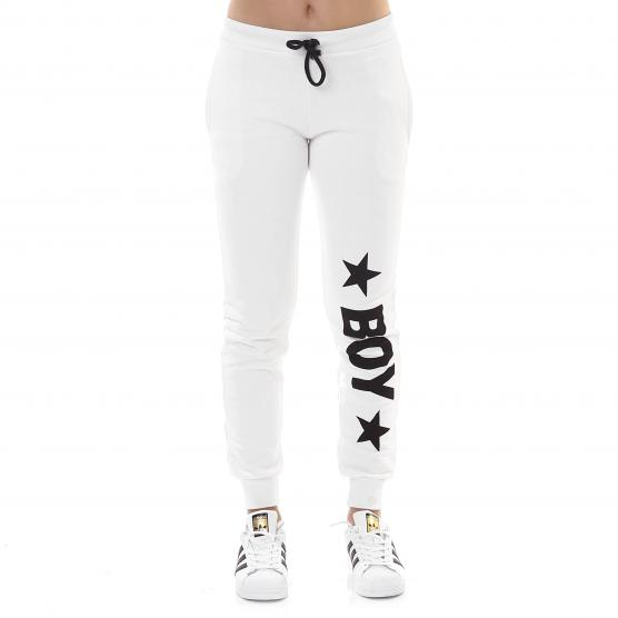 BOY LONDON PANTALONE FELPA STAMPA GRANDE BIANCO
