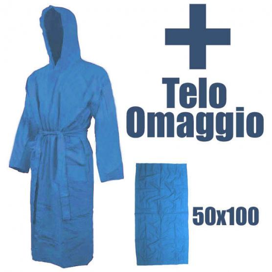 BUNF Light Blue Microfiber Bathrobe