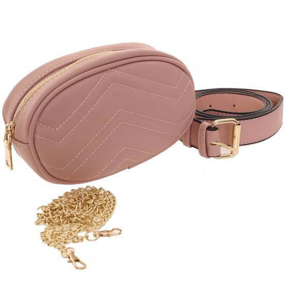 BUNF PINK ECO-LEATHER POUCH BAG