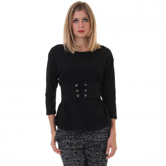 BUNF T-SHIRT PUNTO SMOCKING NERO