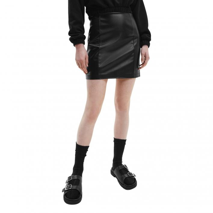 CALVIN KLEIN JEANS FAUX LEATHER SKIRT