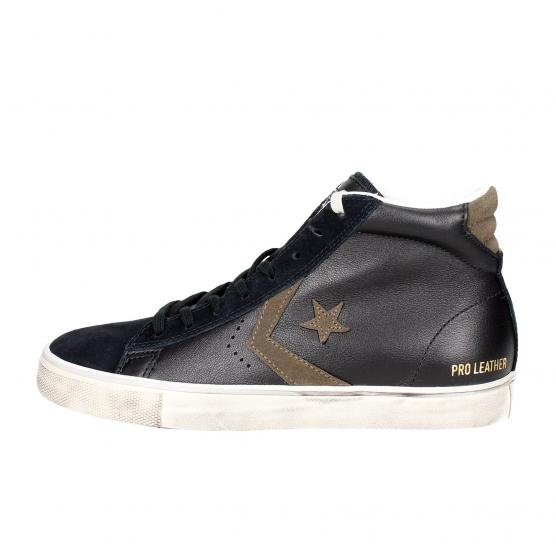 CONVERSE PRO LEATHER VULC DISTRESSED MID BLACK