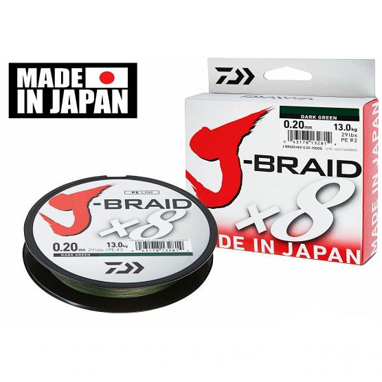 DAIWA J-BRAID X8 500MT 0.22MM DARK GREEN
