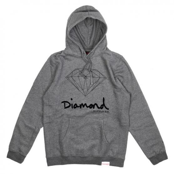 DIAMOND OG SIGN HOODIE-CORE GUNMETAL HEATHER