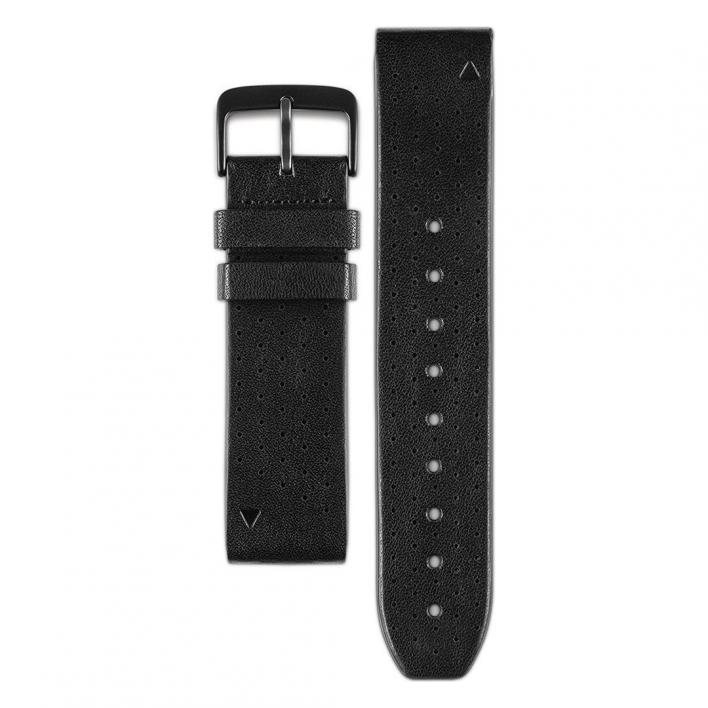 GARMIN STRAP QUICKFIT 22 BLACK PERFORATED LEATHER