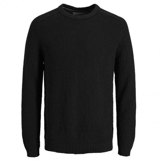JACK JONES CLOUD KNIT CREW NECK BLACK/KNIT FIT
