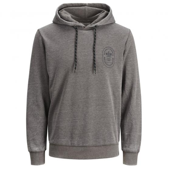 JACK JONES JORCRAZY SWEAT HOOD LIGHT GREY MEL/SLIM
