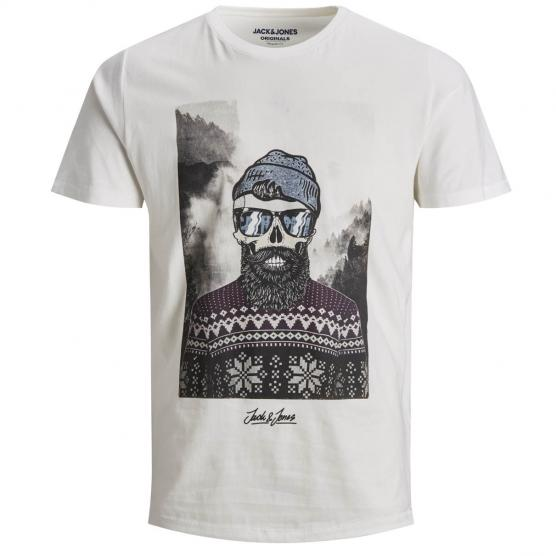 JACK JONES SKOLL TEE SS CREW NECK STS CLOUD DANCER/SLIM