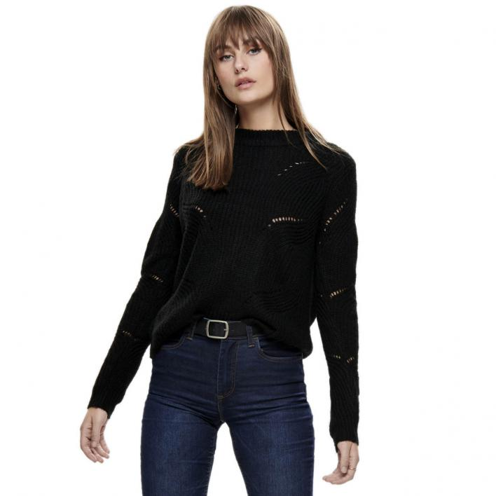 JDY DAISY L/S STRUCTURE PULLOVER KNT NOOS BLACK