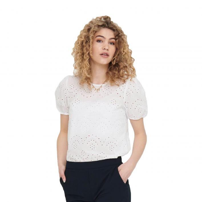 JDY TIA LIFE 2/4 BALLOON LACE TOP WVN