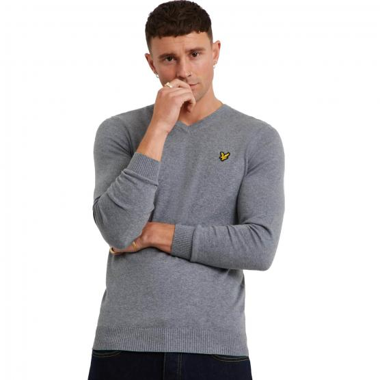 LYLE&SCOTT V NECK COTTON MERINO JUMPER