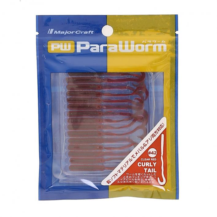 MAJOR CRAFT PARA WORM CURLY TAIL 2'' 042 CLEAR RED