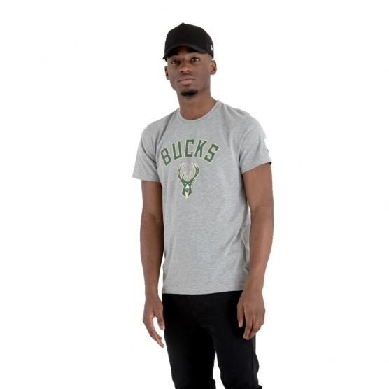 NEW ERA MILWAUKEE BUCKS TEE GREY