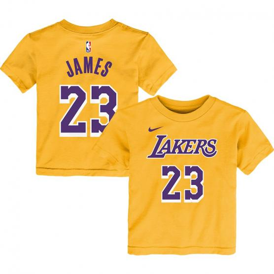 NIKE ICON NAME & NUMBER TEE COTTON BOYS LAKERS JAMES