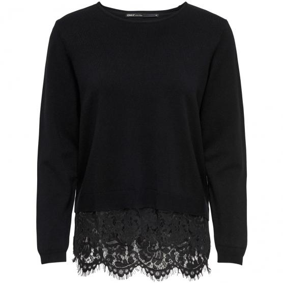 ONLY CILLA L/S LACE MIX PULLOVER KNT