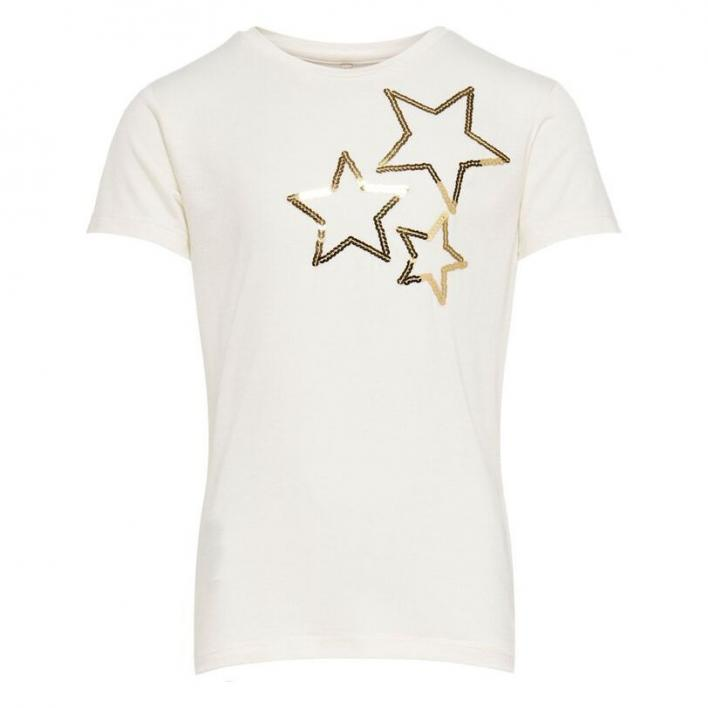 ONLY KIDS KONMOULINS S/S STAR GLITTER TOP CS JRS
