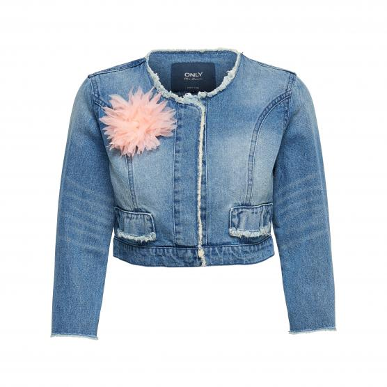 ONLY KIKI FLOWER CROP DENIM JACKET