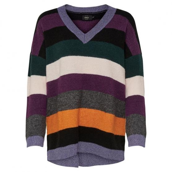 ONLY RAINBOW V-NECK PULLOVER KNT BLACK/GREEN CABLES