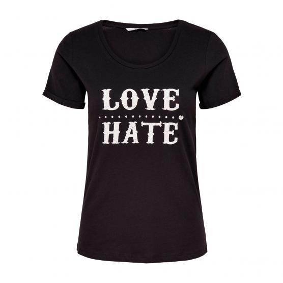 ONLY VIOLA TES S/S T-SHIRT JRS BLACK/LOVE-HATE