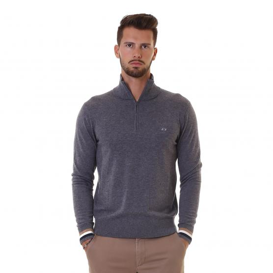 SUN68 ARMY SHORT ZIP COLLAR STRIPES 47 GRIGIO SCURO