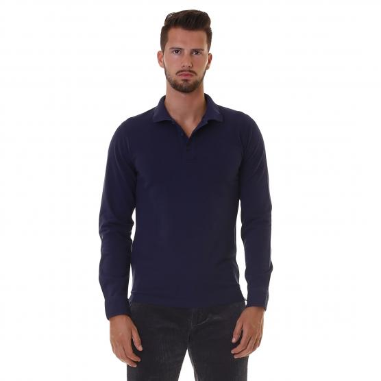 SUN68 POLO COLD DYE L/S 07 NAVY BLUE