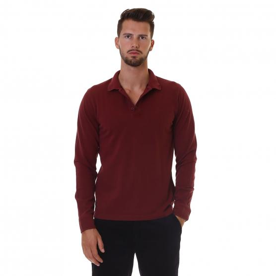 SUN68 POLO COLD DYE L/S 35 BORDEAUX