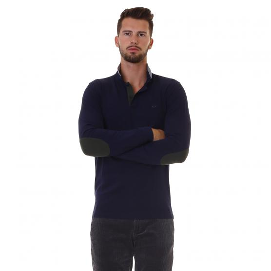 SUN68 POLO EL. BIG STRIPES ON COLLAR L/S 07 NAVY BLUE