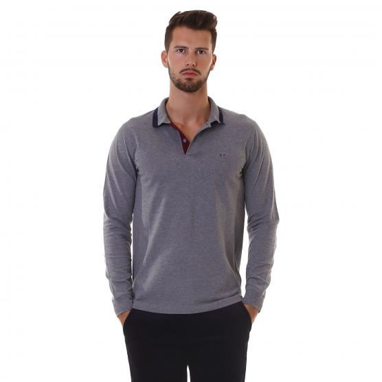 SUN68 POLO EL. BIG STRIPES ON COLLAR L/S 34 GRIGIO MEDIO