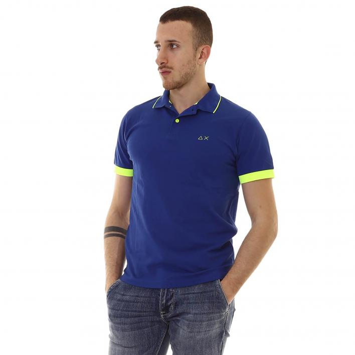 SUN68 SMALL STRIPE FLUO POLO ON COLLAR