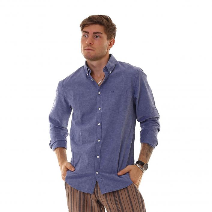 SUN68 HEMD BUTTON DOWN LEINEN LANGARM