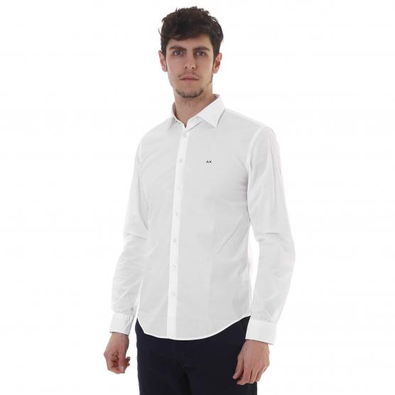 SUN68 SHIRT FRENCH SOLID FORM 01 BIANCO