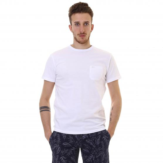 SUN68 T-SHIRT ROUND SOLID POCKET