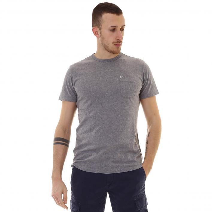 SUN68 T-SHIRT SOLID POCKET