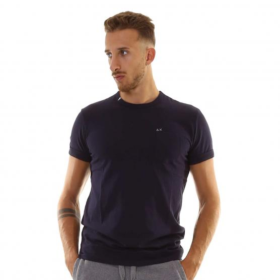 SUN68 T-SHIRT SOLID POCKET S/S 07 NAVY BLUE