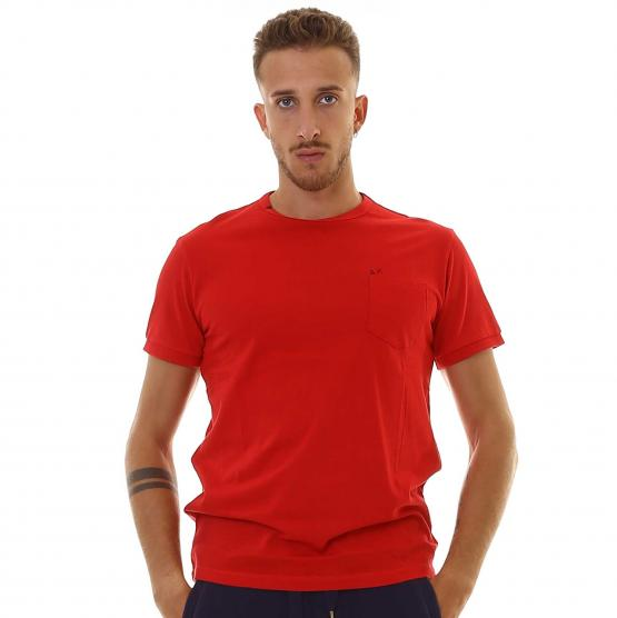 SUN68 T-SHIRT SOLID POCKET S/S 10 ROSSO