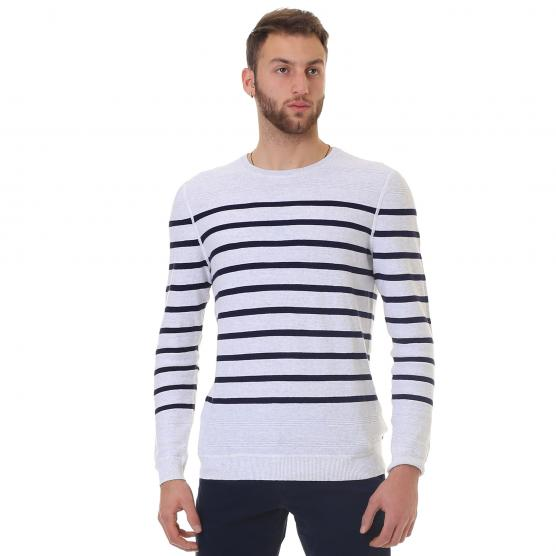 TIMBERLAND LS MILL RIVER COTTON LINEN STRIPE CREW C85