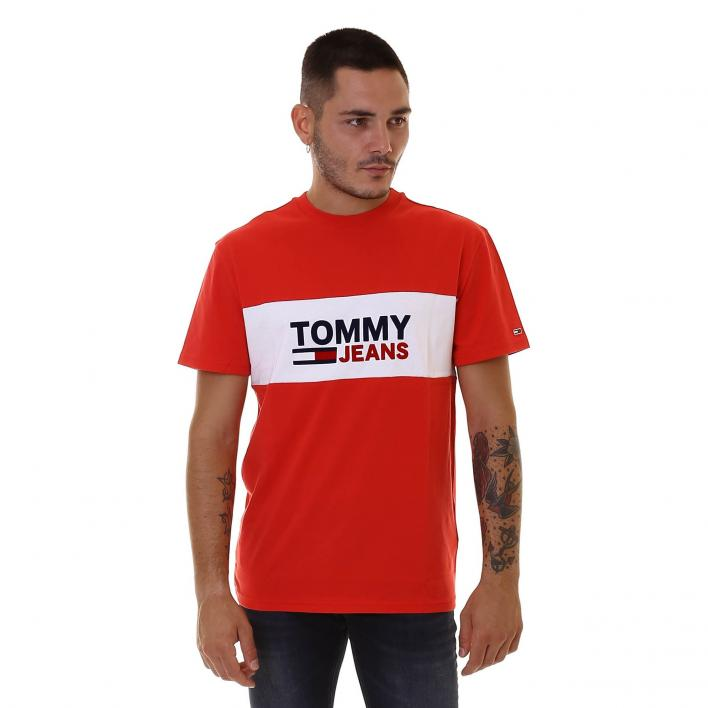 TOMMY JEANS TJM PIECED BAND LOGO TEE DEEP CRIMSON