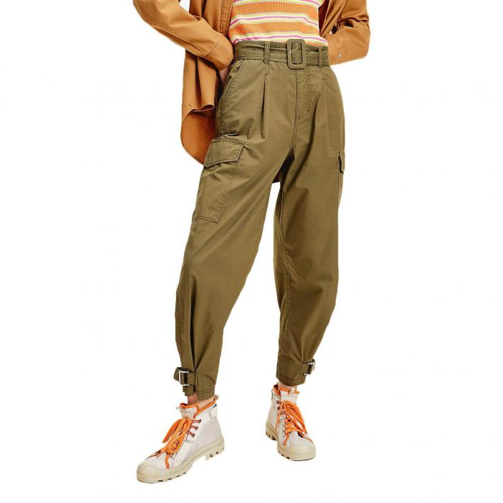 TOMMY JEANS TJW HIGH RISE BELTED PANT OLIVE TREE L.30